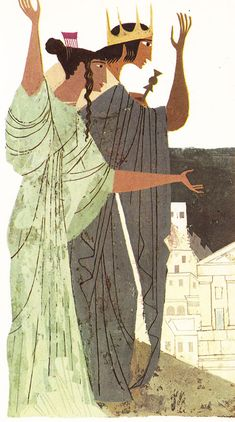Vintage Illustrations Vibrant Vintage Illustrations of Homer's Iliad and Odyssey by Alice and Martin Provensen – Brain Pickings - Ancient Greek mythology meets mid-century art. Art And Illustration, Vintage Illustrations, Alice Martin, Ancient Greek Art, Mid Century Art, Greek Mythology, Character Design, Sculpture, Retro