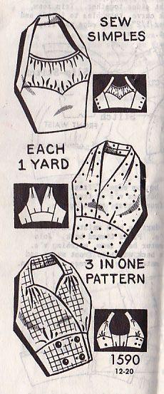 Mail Order 1590 circa 1957 1 Yard Halter Blouses