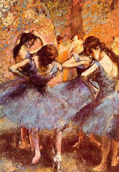 Love Dega's pastels of young dancers. You can feel the per-performance intensity.