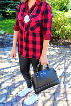 Buffalo check plaid shirt with liquid faux leather leggings and converse and DIY necklace