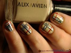 Plaid finger nails :) looks like Burberry nails! Plaid Nail Designs, Plaid Nail Art, Plaid Nails, Nail Art Designs, Nails Design, Argyle Nails, Get Nails, Fancy Nails, Love Nails