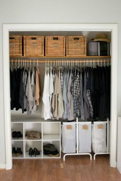 If your closet is a bit crammed, stack wicker basketson your top shelf for concealedyet stylish storage.  Get the tutorial at Home Talk.  What you'll need:wicker baskets ($35, amazon.com); labels ($10, amazon.com)