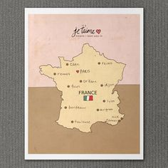 I Love You in France 8x10 / French Map, Typography Poster, Giclee, Modern Baby Girl Pink Nursery Decor, European Travel Theme, Digital Print. $20.00, via Etsy.