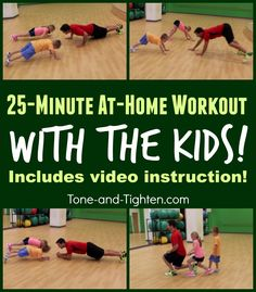 At-home-workout-exercise-with-kids-tone-and-tighten. Kids right? Lets be honest parents are busy! Between getting kids to school working errands meals soccer little league tub time and bed time weve got a completely full day! Too frequently our time for Healthy Kids, Get Healthy, Healthy Living, Fun Workouts, At Home Workouts, Workouts With Kids, Workout Exercises, Fitness Exercises, Fitness Tips