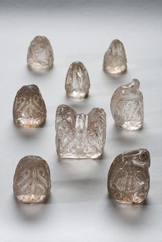 A series of 11th-century crystal chess pieces from the Museo da Catedral in Ourense, Spain, which have never before left the cathedral