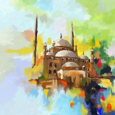 Original Architecture Painting by Corporate Art Task Force Palestine Art, Building Painting, Islamic Paintings, Kairo, Arabic Art, Islamic Art Calligraphy, Abstract Expressionism Art, Vinyl, Watercolor Art