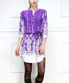 Thinking about Fall: Love this Purple & White Arabesque Blouson Dress on #zulily! #zulilyfinds