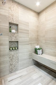 Enhance the look and feel of traditional, transitional and contemporary decors by incorporating this bathroom tile design - Legno Travertine Wall Tile