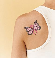 Pink Ribbon Butterfly Tattoo | pink ribbon butterfly tattoo | Tattoo Designs