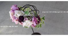 ウェディングヘッドドレス髪飾り完成品●バラとあじさいの花かんむり:パープル Floral Wreath, Crown, Wreaths, Jewelry, Home Decor, Corona, Jewlery, Decoration Home, Bijoux