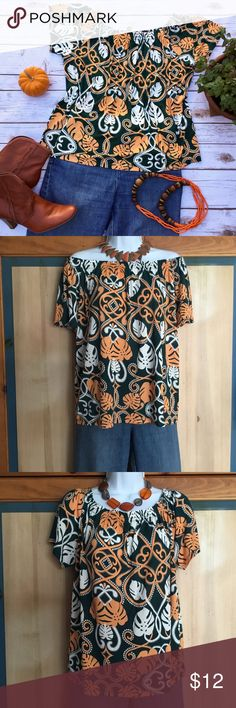 Lightweight Sexy On or Off Shoulder Top NWOT Cute top with dark green, orange, and white leaf print. 100% viscose. Measures about 21 inches across and 21 inches in length. H&M Tops