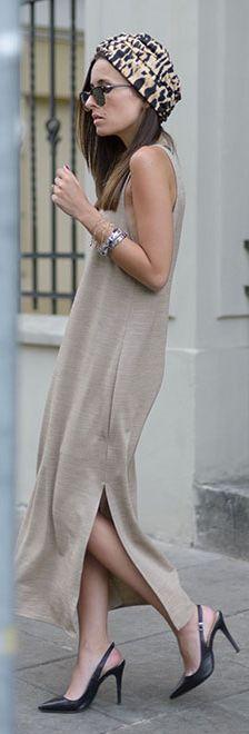 Style On Beige Shift Maxi Dress