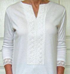 Makeover round neck shirt to V-neck with lace trim