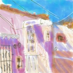 Paula O'Brien, plein air painting ipad, Mexico, Guanajuato. loose abstract digital painting, pink Mexican home