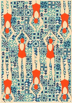 Cool .. Limited Edition Giclee print of Lou's Swimmers papercut. Inspired by quilting designs and Art Deco patterns.Printed on archival paper using fade resistant inks, all prints are a Limited Edition of 50, and will be signed and numbered.The print is printed onto A3 paper, which measures approx 30cm x 42cm. The size of the actual printed area is 22cm x 34cm.