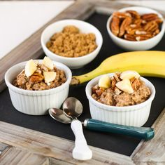 Overnight Crock Pot Banana Bread Oatmeal - I just put this in the crockpot at bedtime last night and it was WONDERFUL this morning.  The texture was a bit like custard.  May have some leftovers for snack tonight.