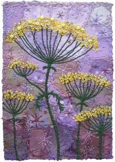"""https://flic.kr/p/ajjvcH   Fennel Blossoms 5   There's just something magical about yellow and purple.  I enjoy making the backgrounds and then adding the yellow blossoms.  3"""" x 4 ¼"""" 9"""" x 11"""" framed SOLD"""