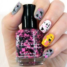 U Rock My Heart Neon Pink and Black Glitter Nail by KBShimmer, $8.75