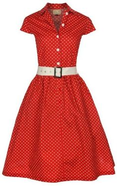 Lindy Bop 'Kathline' Classic Red Polka Dot Vintage Ww2 1940'S 1950'S Belted Shirt / Tea Dress - Buy New: $46.99