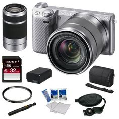 """Sony NEX-5R NEX5R, NEX5RKS, NEX5RK NEX-5RK/S nex 16.1 MP Compact Interchangeable Lens Digital Camera w/ 18-55mm Lens & 3"""" LCD in Silver + Sony SEL 55-210mm F4.5-6.3 Lens + Sony Camera Case + Replacement Battery Pack + Tiffen 49mm Filter + Accessory Kit by Sony. $898.00. The Alpha NEX-5R Mirrorless Digital Camera with 18-55mm f/3.5-5.6 E-mount Zoom Lens (Silver) from Sony is Sony's latest compact interchangeable lens """"mirrorless"""" camera. If you're considering an u..."""