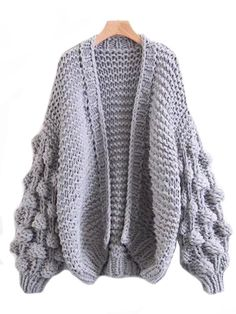 'Abbey' Hand-knit Pom Pom Sleeved Chunky Cardigan