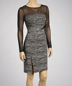 Heather Black Sheer Sleeve Dress by Vince Camuto - regularly $128, Zulily price $59.99 1/04/2014