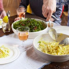 Wonky Summer Pasta, Herby Salad, Pear Drop Tartlets