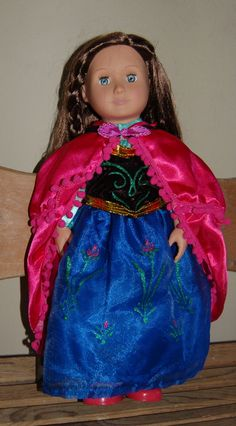 "Frozen inspired Princess Anna Dress for 18"" Dolls Fits American Girl Let it go"