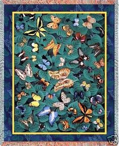 70x54 BUTTERFLY Butterflies Tapestry Afghan Throw Blanket