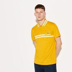 6eda4e45af Lacoste Polos Mens Buttercup/White SPORT Contrast Band Tech Piqué Tennis Polo  Shirt Today's Deals