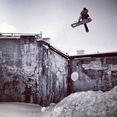 SNOWBOARDER MAGAZINE  Our newest cover boy, and dirtbike enthusiast, @chris_grenier doing a one legger in #Quebeccity. Photo: #oligagnon
