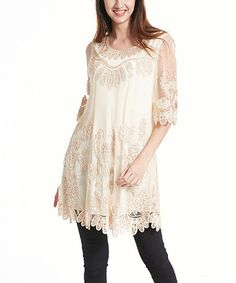Another great find on #zulily! Beige Sheer-Sleeve Floral Soutache Tunic #zulilyfinds