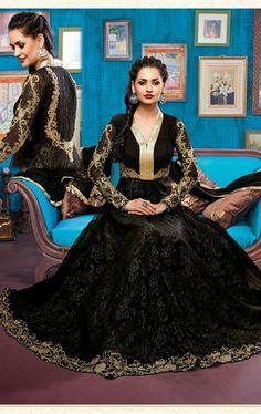 Picture of Tantalizing Black Fashion Designer Salwar Suit