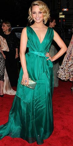 A full-length view of Dianna Agron and her gorgeous green dress at the Met Ball