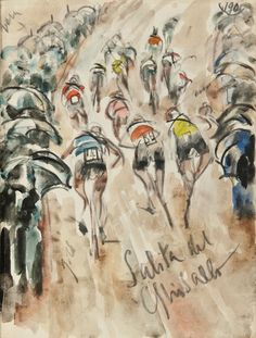 Illustration by Anselmo Bucci - of the 1939 Giro d'Italia Online Bike Shop, Cycling Art, Cycling Quotes, Cycling Tips, Cycling Jerseys, Bicycle Art, Bicycle Decor, Bicycle Design, Bike Illustration