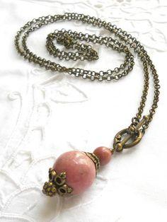 bohemian gypsy necklace boho necklace rhodonite necklace