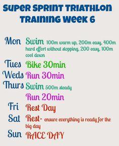 6 Week Beginner Super Sprint Triathlon Plan