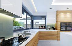 Projekt domu Wyjątkowy 2 - 201.09 m2 - koszt budowy 361 tys. zł Kitchen Room Design, Home Decor Kitchen, Kitchen Interior, Home Interior Design, Küchen Design, Design Case, House Design, Kitchen Work Triangle, Architectural House Plans