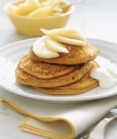 Gingerbread Pancakes With Pears and Yogurt recipes from realsimple.com #myplate #fruit