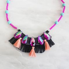 The best online store for designer children's accessories. Largest collection of kids jewelry, handbags including designer rebel necklace by Jacques & Sienna. Crystal Necklace, Tassel Necklace, Boho Fashion, Fashion Jewelry, Kids Jewelry, Rosettes, Boho Style, Bespoke, Rebel