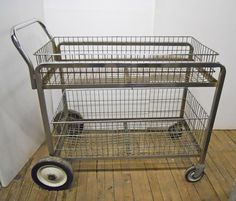 Wire Basket Cart Metal Industrial Utility Cart Plant Cart Garden Cart  2 Wire Baskets Switchable Removable