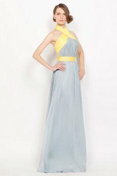 Hourglass Sweep Train Floor Length Spring Winter Sleeveless Halter Pleated Pear Misses Evening Dress
