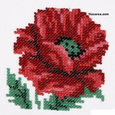 cam-boncuklu-hashas-cicegi-acilisi Beaded Cross Stitch, Cross Stitch Rose, Pixel Crochet, Bead Crochet, Crochet Stitches Patterns, Beading Patterns, Beaded Embroidery, Cross Stitch Embroidery, Cross Stitch Designs