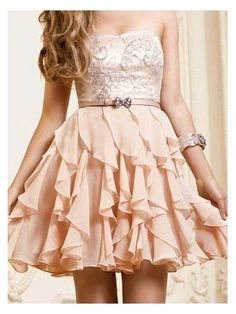 A-line Chiffon Ruffles Sweetheart Short Prom Dress $182