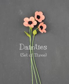 Items similar to Set of Three Dainties. Build Your Own Bouquet. on Etsy Tissue Flowers, Felt Flowers, Diy Flowers, Fabric Flowers, Paper Flowers, Felt Crafts Diy, Felt Diy, Fabric Ribbon, Felt Fabric