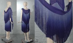 Chanel Blue Silk Ombre Fringe Evening Dress and Boa   French, 1926