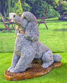 Discount Garden Statues Ltd   EXCLUSIVE Stone Cast Sitting Poodle Ornament  Statue Hand Made In England