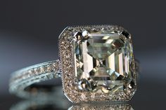 Square Emerald-Asscher Cut Micro Pave Halo Ring