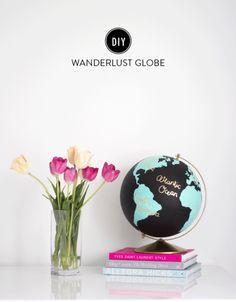 DIY Wanderlust Globe: http://www.stylemepretty.com/living/2015/05/28/diy-wanderlust-globe/ | Design: Pretty Little Details - http://www.prettylittledetails.ca/