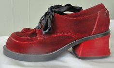 2f014522a59a Vintage Zodiac Velour Platform Shoes ~ 90 s Shoes ~ Grunge ~ 90 s ~ Vintage  Platform Shoes ~ Velour Shoes ~ Retro Platform Shoes ~ Red Shoes